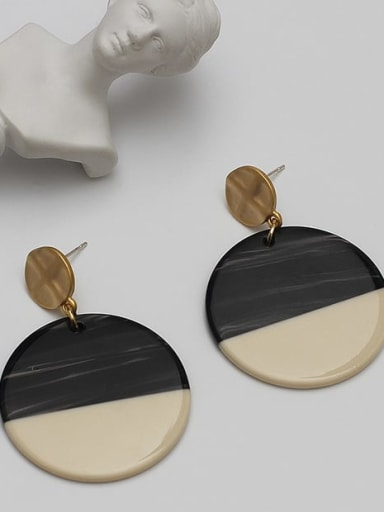 Alloy Black Acrylic Geometric Trend Earring