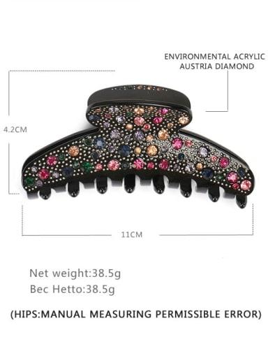 Black color diamond Acrylic Minimalist Irregular Alloy Rhinestone Multi Color Jaw Hair Claw