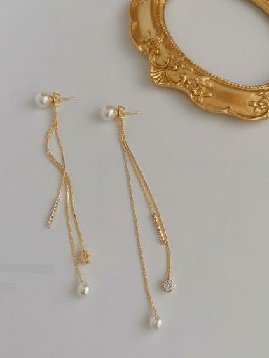 Copper Alloy Imitation Pearl Tassel Threader Earring