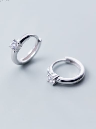 925 Sterling Silver Cubic Zirconia White Round Dainty Hoop Earring