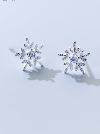 925 Sterling Silver Cubic Zirconia White Dainty Stud Earring