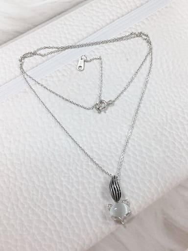 White 925 Sterling Silver Cats Eye Fox Dainty Initials Necklace