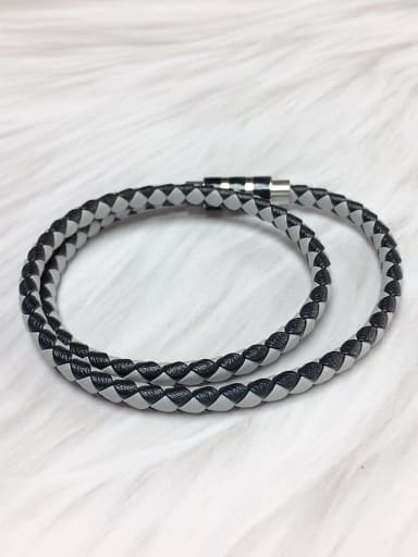 White Stainless steel Leather Round Trend Bracelet