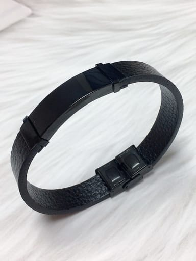 Black Stainless steel Leather Rectangle Trend Bracelet