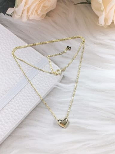 Gold 925 Sterling Silver Heart Dainty Initials Necklace