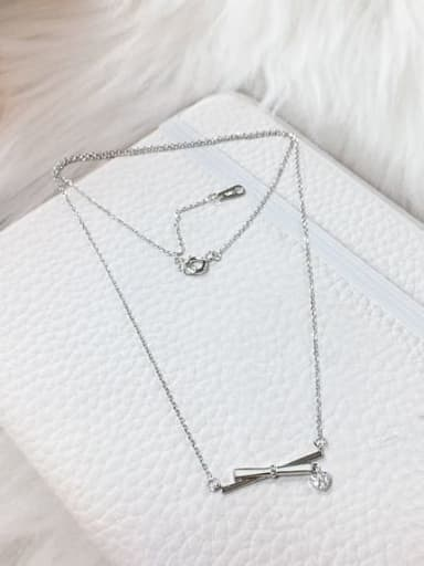 Silver 925 Sterling Silver Cubic Zirconia Enamel Irregular Dainty Initials Necklace