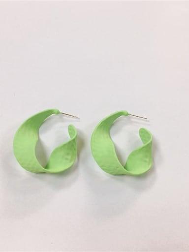 Green Zinc Alloy Enamel Irregular Trend Hoop Earring