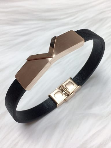 Rose Stainless steel Leather Letter Trend Bracelet