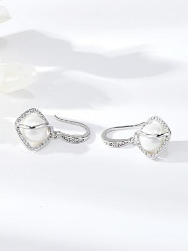 White Zinc Alloy Imitation Pearl Irregular Trend Hook Earring