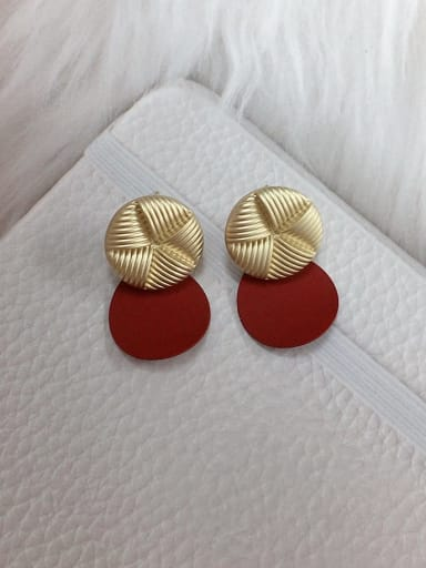 Red Zinc Alloy Round Trend Drop Earring