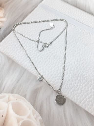 Silver 925 Sterling Silver Cubic Zirconia Round Dainty Beaded Necklace