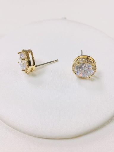 Gold Brass Cubic Zirconia Round Dainty Stud Earring