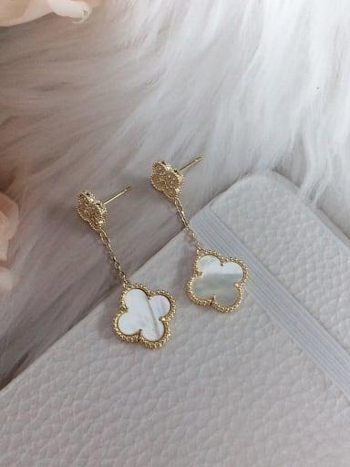 white Brass Shell Clover Trend Drop Earring