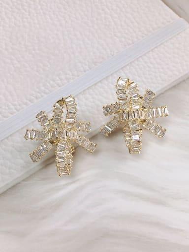 White Brass Cubic Zirconia Irregular Trend Clip Earring