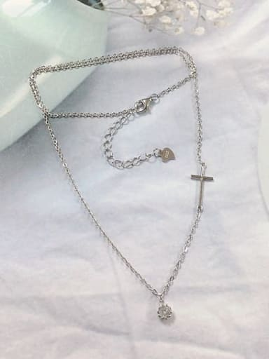 Silver 925 Sterling Silver Cubic Zirconia Dainty Initials Necklace