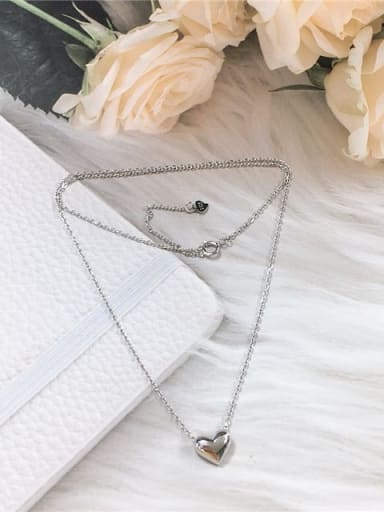 Silver 925 Sterling Silver Heart Dainty Initials Necklace