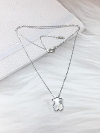 Silver 925 Sterling Silver Shell Panda Dainty Initials Necklace