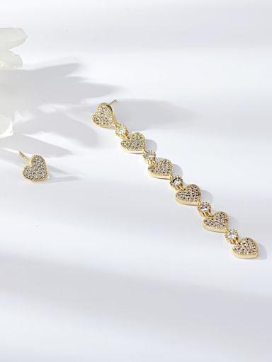Brass Cubic Zirconia Heart Minimalist Drop Earring