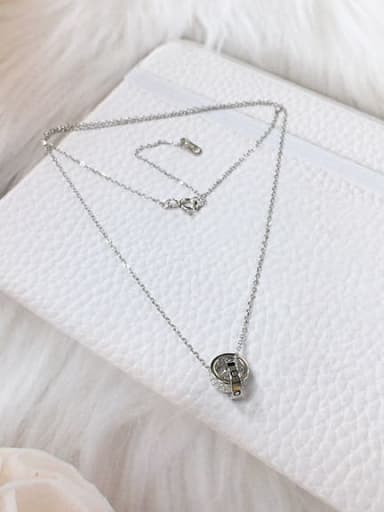 Silver 925 Sterling Silver Cubic Zirconia Cone Dainty Initials Necklace