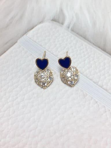 Blue Brass Cubic Zirconia Acrylic Heart Dainty Stud Earring