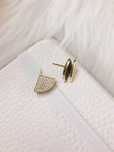 Black Brass Shell Geometric Trend Stud Earring