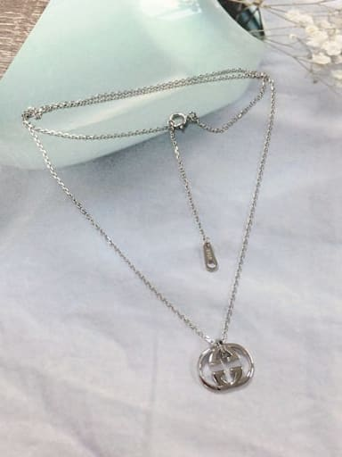 Silver 925 Sterling Silver Irregular Dainty Initials Necklace