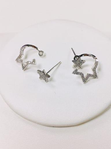 Silver Brass Cubic Zirconia Star Dainty Stud Earring