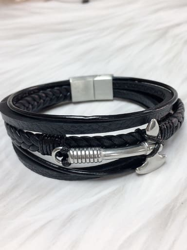 Stainless steel Leather Religious Trend Bracelet