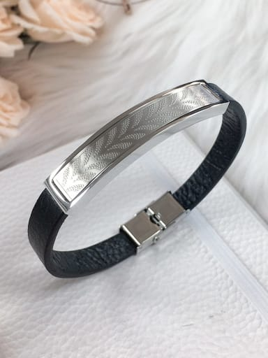 Stainless steel Leather Rectangle Trend Bracelet