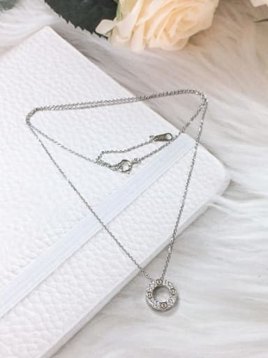 Silver 925 Sterling Silver Cubic Zirconia Round Dainty Initials Necklace