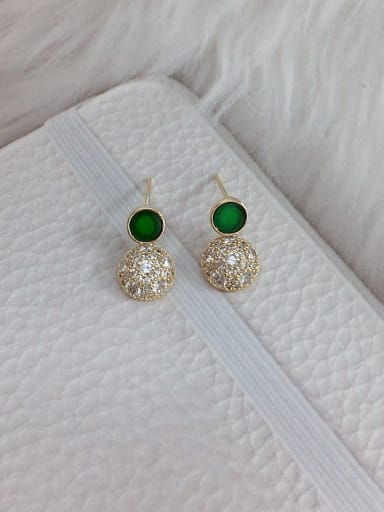 Green Brass Cubic Zirconia Acrylic Round Dainty Stud Earring