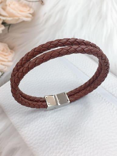 Stainless steel Leather Irregular Trend Woven Bracelet