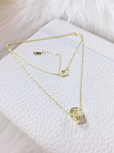 Gold 925 Sterling Silver Cubic Zirconia Cone Dainty Initials Necklace