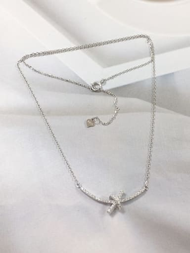 Silver 925 Sterling Silver Cubic Zirconia Irregular Dainty Initials Necklace
