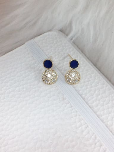 Blue Brass Cubic Zirconia Acrylic Round Dainty Stud Earring