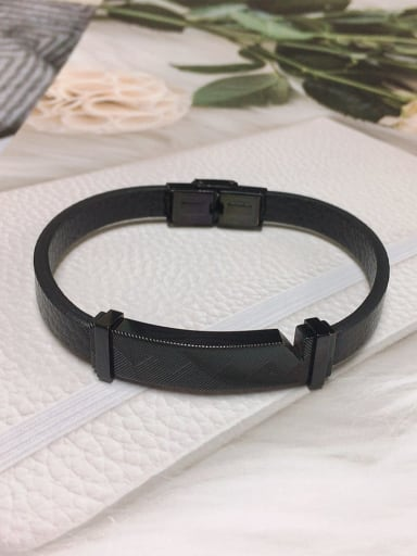 Black Stainless steel Leather Rectangle Trend Bracelet