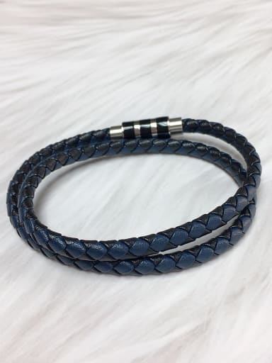Blue Stainless steel Leather Round Trend Bracelet