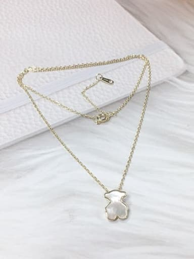 Gold 925 Sterling Silver Shell Panda Dainty Initials Necklace