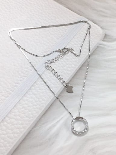 Silver 925 Sterling Silver Cubic Zirconia Round Dainty Locket Necklace