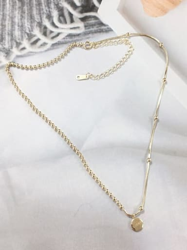 Gold 925 Sterling Silver Dainty Beaded Necklace