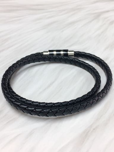 Black Stainless steel Leather Round Trend Bracelet
