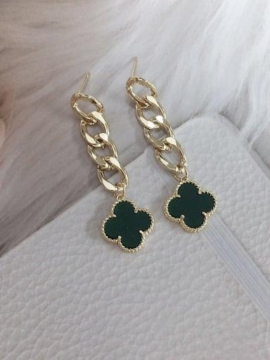 Green Zinc Alloy Acrylic Clover Trend Drop Earring