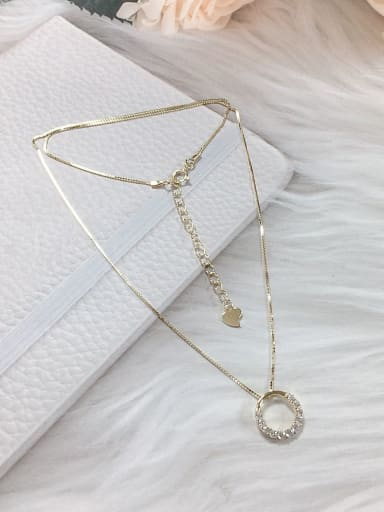 Gold 925 Sterling Silver Cubic Zirconia Round Dainty Locket Necklace