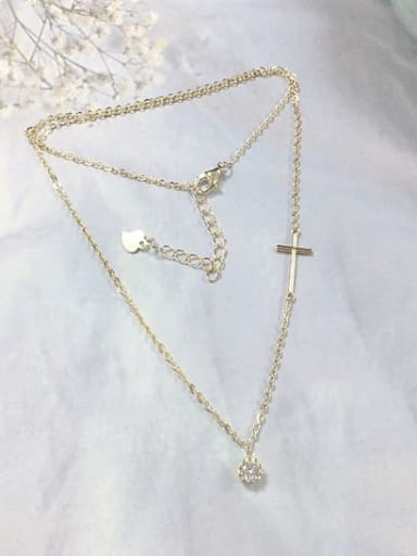 Gold 925 Sterling Silver Cubic Zirconia Dainty Initials Necklace
