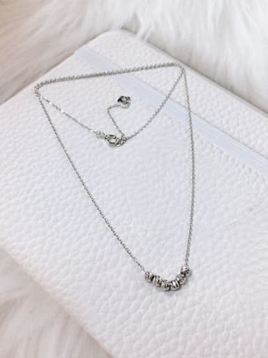 Silver 925 Sterling Silver Dainty Initials Necklace