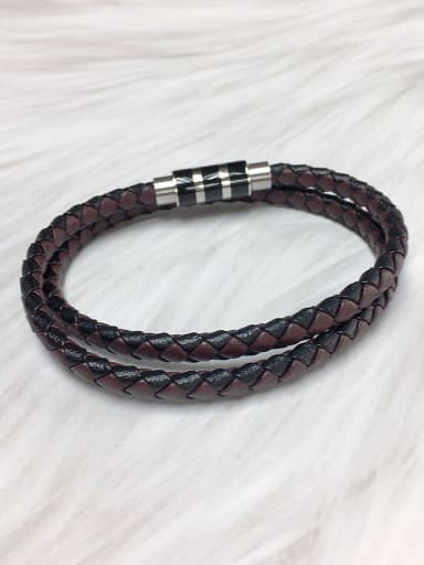 coffee Stainless steel Leather Round Trend Bracelet