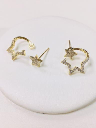 Gold Brass Cubic Zirconia Star Dainty Stud Earring