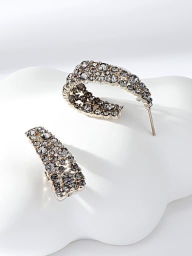 Coffee gold Zinc Alloy Gold Plated Irregular Stud Earring