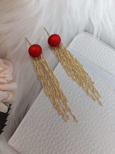 Red Brass Imitation Pearl Tassel Trend Threader Earring