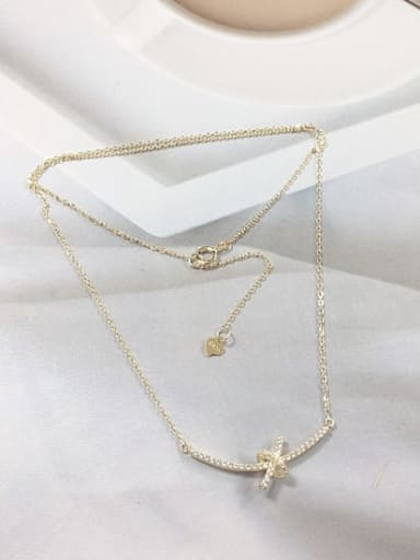 Gold 925 Sterling Silver Cubic Zirconia Irregular Dainty Initials Necklace